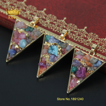 New Style Druzy Triangle Gold Plate Bezel Nature Stone Multicolor Ag ate Charms Geode Druzy Pendant For Necklace RF001